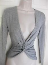 BEBE GREY CARLY SHIRRED FRONT TOP LONG SLEEVE SHIRT NEW NWT XSMALL XS