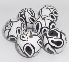 Rare VTG 6 Large Black White Handpainted Wood Beads Unique Craft Jewelry Lot