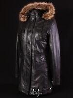 MOSCOW BLACK (9940) Ladies Hooded Fur Hoody Winter Lambskin Leather Jacket Coat