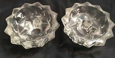 Vintage pair of votive or dinner candle holders - Cut Glass Star  - heavy weight