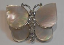 Vintage MONET Silver Tone Mother of Pearl Butterfly Brooch with Rhinestones - Z1