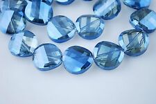 Bulk 10pcs Blue Transparent Glass Crystal Twist Tile Beads 14mm Spacer Findings