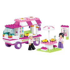 Chef Snack Car Mobile Van Food Restaurant Building Bricks Set Market Girls Pink
