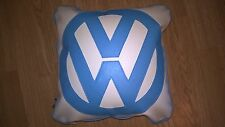 Vw v w faux leather  cushion  white with sky blue vw and piping retro cool