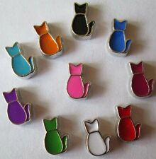 Mix 10PCS Silver cat floating charm DIY for glass living memory locket AA451