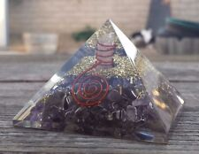 LARGE (50-55mm) AMETHYST ORGONE GEMSTONE PYRAMID LARGE PYRAMID ORGONITE