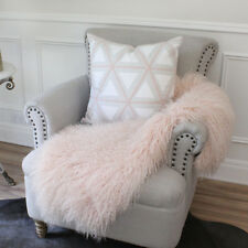 PINK REAL TIBETAN MONGOLIAN SHEEPSKIN HIDE LONG HAIR FUR LAMBSKIN RUG THROW PELT