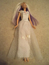Barbie Doll - purple  and white blonde  hair - soft belly