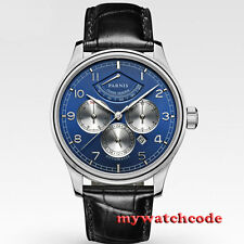 43mm Parnis Blue Dial multi-function Power Reserve automatic Men's Watch 505