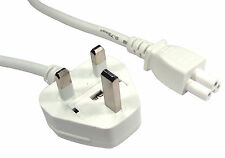 WHITE 2m (1.8m) Laptop 3 Pin Mains C5 Clover Power Cord Cable Mickey Mouse Lead