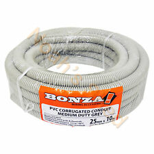 25mm x 10m Corrugated Conduit Corry Flexi UPVC Pipe Cable Electrical Grey