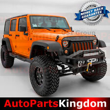 07-17 Wrangler JK Stubby Rock Crawler Front Bumper+OE Fog Light Hole+LED Mount