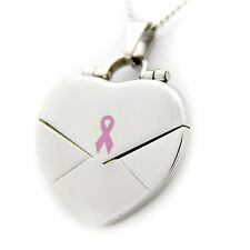 """What Cancer Cannot Do"" Pink Ribbon Heart Locket Stainless Steel Necklace"