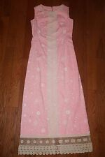 Vintage LILLY PULITZER Maxi Dress Pink White Floral Lace Trim sz 2 4 6 The Lilly