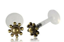 BRASS AFGHAN FLOWER TRAGUS HELIX 16G 5/16 inch 8mm INTERNAL BIOPLAST LABRET LOBE