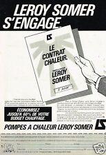 Publicité advertising 1983 Les Pompes à chaleur Leroy Somer