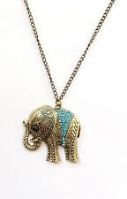 New Animal-themed Cosmetic Jewellery Elephant Necklace with Blue Crystal Stones