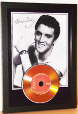 ELVIS PRESLEY SIGNED FRAMED GOLD CD DISC MEMORABILIA
