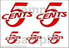 1 INCH AND HALF INCH VINTAGE STYLE 5 CENT VENDING DECAL COKE RED 5 DECALS TYPE 2