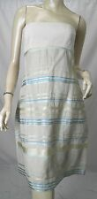 NARCISO RODRIGUEZ Beige Linen/Silk/Hemp Ribbon Stripe Strapless Dress sz 40 US 4