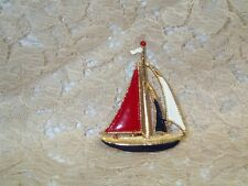 """Vintage Sailboat Red White Blue Enamel Gold Tone Brooch Pin  2"""" Tall 1 1/2"""" Wide"""