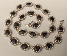 Vtg Hallmarked Sterling Silver 925 Blue / Black White CZ Oval Cluster Necklace