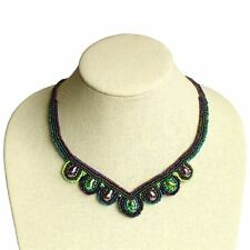 Crystal Fine Art Green Purple Beaded Woven Medallions Intricate Artisan Necklace