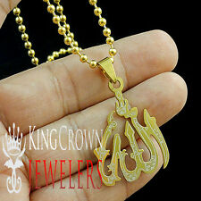 NEW STAINLESS STEEL YELLOW GOLD FINISH ARABIC ALLAH GOD PENDANT CHARM CHAIN SET