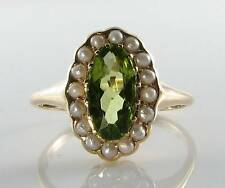 QUALITY 9CT GOLD PERIDOT & PEARL ART DECO INS CLUSTER RING FREE SIZE