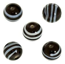 Spiral Pattern Black Round Glass Bead 12mm Pack of 5 (E71/4)
