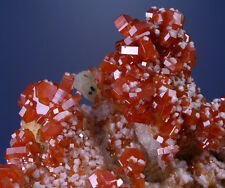 3 INCH CANDY-RED VANADINITE CRYSTALS w BARITE, ARAGONITE, MIBLADEN, MOROCCO