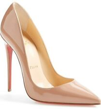 $675 CHRISTIAN LOUBOUTIN SO KATIE POINTY TOE STILLETO NUDE PUMPS HEELS  SIZE 40
