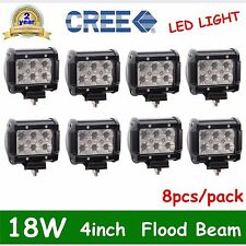 8x 4in 18W FLOOD CREE LED WORK LIGHT BAR OFFROAD Fog/Driving LAMP BOAT CAR TRUCK