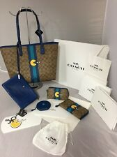 Coach PAC-MAN Denim Tote Accordion Wallet Cosmetic Bag Charm Coin Purse $980 NEW