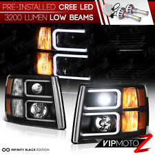 [BUILT-IN LED LOW BEAM] [NEON OPTIC TUBE] 07-2013 Chevy Silverado Halo Headlight