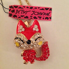 "HAPPY RED FOX/Enamel & Crystal 28"" Pendant Necklace Betsey Johnson"