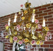 Antique XL French Porcelain Rose Flower Crystal Gilt Tole Chandelier Make Offer