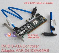 ADAPTEC AAR-2410SA/64M S-ATA SATA RAID 0 1 5 10 CONTROLLER + 2x CABLES TOP OK