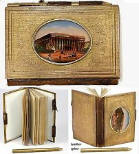 Antique French Grand Tour Souvenir Aide d' Memoire, Eglomise Notebook, Paris