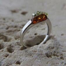 Size 5 3/4, Size L, Size 51 Multicolor BALTIC AMBER Ring, STERLING SILVER #1663