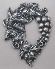 #3344 ANTIQUED SS/P FABLED FOX & GRAPES BROOCH - 1 Pc Lot
