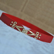Women Lady Golden Floral Buckle Skinny Elastic Leather Belt Stretch Waistband