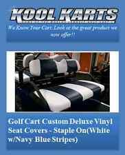 Club Car Precedent Golf Cart Custom Seat Covers-Front and Rear(White/Navy Strps)
