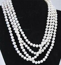 "Beautiful! Super long 80"" 7-8mm Natural White Akoya Cultured Pearl Necklace"