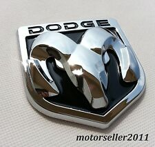 3D DODGE Black & Chrome Hood Or Trunk Tailgate Fender Decal Badge Emblem 82x90mm