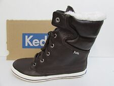 Keds Size 8.5 M Brown Leather Hi Top Sneaker Boots New Womens Shoes