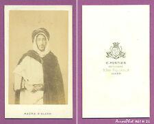 CDV PORTIER À ALGER : HOMME EN TENUE ALGÉRIENNE TRADITIONNELLE VERS 1870 -H21