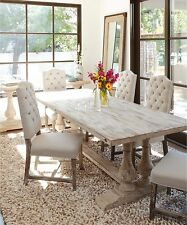 Traditional Dining Table Large Unique Trestle White Rustic Accent Wood Furniture