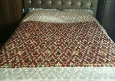 "Cream Brown Woven Double Sheet Blanket Throw floral pattern 88""x84"" Shiny Silk"