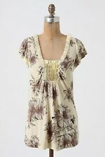 We Love Vera Anthropologie Floral Cotton Knit Tunic Length Whippletree Tee M $78